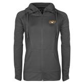 Ladies Sport Wick Stretch Full Zip Charcoal Jacket-QU Hawk Head