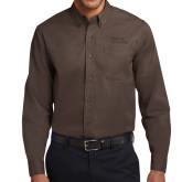 Brown Twill Button Down Long Sleeve-Wordmark