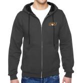 Charcoal Fleece Full Zip Hoodie-QU Hawk Head