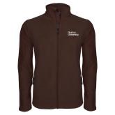 Fleece Full Zip Brown Jacket-Wordmark