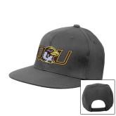 Charcoal Flat Bill Snapback Hat-QU Hawk Head