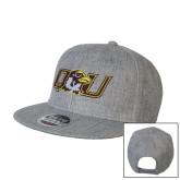 Heather Grey Wool Blend Flat Bill Snapback Hat-QU Hawk Head