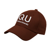 Brown Heavyweight Twill Pro Style Hat-QU Quincy University