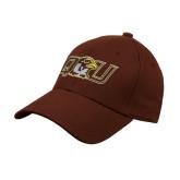 Brown Heavyweight Twill Pro Style Hat-QU Hawk Head
