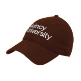 Brown Twill Unstructured Low Profile Hat-Wordmark