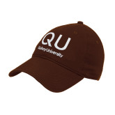Brown Twill Unstructured Low Profile Hat-QU Quincy University