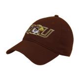 Brown Twill Unstructured Low Profile Hat-QU Hawk Head
