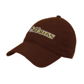 Brown Twill Unstructured Low Profile Hat-Hawks w/ Hawk Head