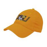 Gold Twill Unstructured Low Profile Hat-QU Hawk Head