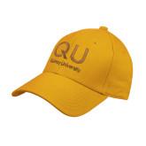 Gold Heavyweight Twill Pro Style Hat-QU Quincy University