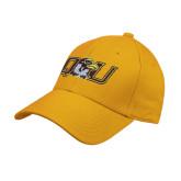 Gold Heavyweight Twill Pro Style Hat-QU Hawk Head