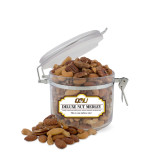Deluxe Nut Medley Small Round Canister-QU Hawk Head