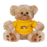Plush Big Paw 8 1/2 inch Brown Bear w/Gold Shirt-QU Hawk Head