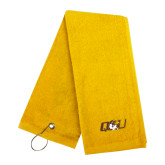 Gold Golf Towel-QU Hawk Head