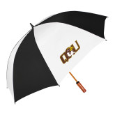 64 Inch Black/White Vented Umbrella-QU Hawk Head