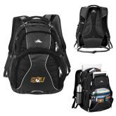 High Sierra Swerve Black Compu Backpack-QU Hawk Head