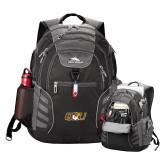 High Sierra Big Wig Black Compu Backpack-QU Hawk Head