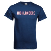 Navy T Shirt-Highlander Wordmark