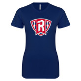 Next Level Ladies SoftStyle Junior Fitted Navy Tee-R in Shield
