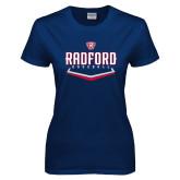 Ladies Navy T Shirt-Baseball Design
