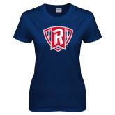 Ladies Navy T Shirt-R in Shield