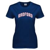 Ladies Navy T Shirt-Arched Radford