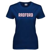 Ladies Navy T Shirt-Radford Wordmark
