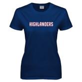 Ladies Navy T Shirt-Highlander Wordmark