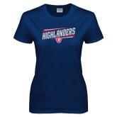 Ladies Navy T Shirt-Highlander Design