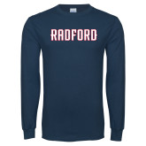 Navy Long Sleeve T Shirt-Radford Wordmark