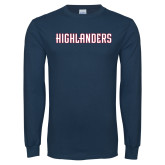 Navy Long Sleeve T Shirt-Highlander Wordmark