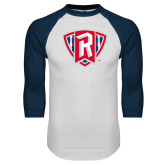 White/Navy Raglan Baseball T Shirt-R in Shield