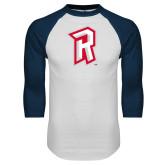 White/Navy Raglan Baseball T Shirt-R Mark