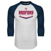 White/Navy Raglan Baseball T Shirt-Baseball Design