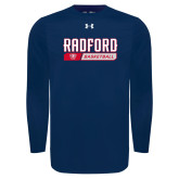 Under Armour Navy Long Sleeve Tech Tee-Basketball Design