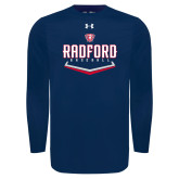Under Armour Navy Long Sleeve Tech Tee-Baseball Design