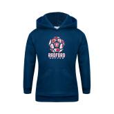Youth Navy Fleece Hoodie-Soccer Design