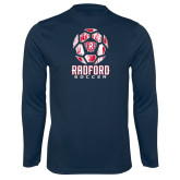 Performance Navy Longsleeve Shirt-Soccer Design