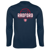 Performance Navy Longsleeve Shirt-Volleyball Design