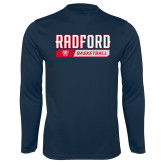 Performance Navy Longsleeve Shirt-Basketball Design