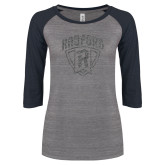 ENZA Ladies Athletic Heather/Navy Vintage Triblend Baseball Tee-Primary Mark Graphite Soft Glitter
