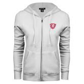ENZA Ladies White Fleece Full Zip Hoodie-R in Shield