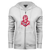 ENZA Ladies White Fleece Full Zip Hoodie-Highlander