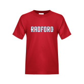 Youth Red T Shirt-Radford Wordmark