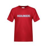 Youth Red T Shirt-Highlander Wordmark