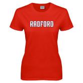 Ladies Red T Shirt-Radford Wordmark