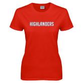 Ladies Red T Shirt-Highlander Wordmark
