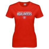 Ladies Red T Shirt-Radford University Highlanders