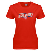 Ladies Red T Shirt-Highlander Design