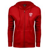 ENZA Ladies Red Fleece Full Zip Hoodie-Primary Mark